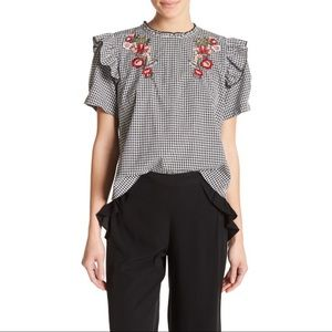 NWT ABOUND Embroidered Gingham Frill Top